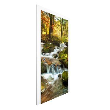 Carta da parati per porte - Waterfall autumnal forest