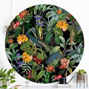 Carta da parati rotonda autoadesiva - Uccelli con fiori tropicali