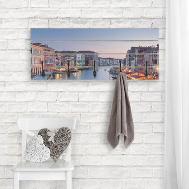 Appendiabiti in legno - Sera sul Canal Grande a Venezia