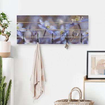 Appendiabiti in legno - Anemones In Blue - Ganci neri - Orizzontale