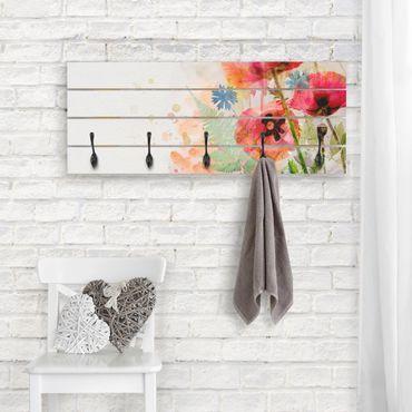 Appendiabiti in legno - fiori di papavero acquerello