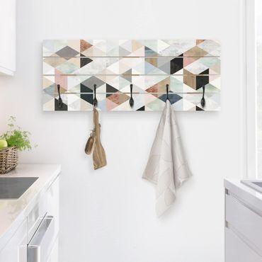 Appendiabiti in legno - Acquerello mosaico triangoli con I