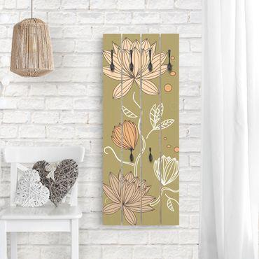 Appendiabiti in legno - Art Nouveau Flower