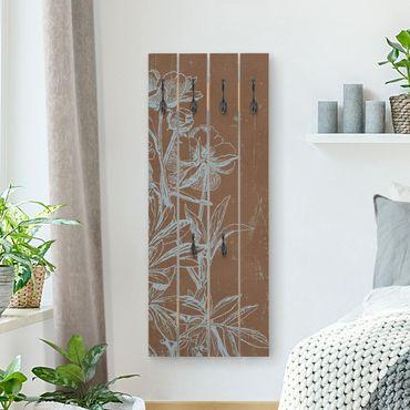 Appendiabiti in legno - Fiori Blu Sketch