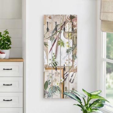 Appendiabiti in legno - Flowers And Garden Herbs Vintage - Ganci neri - Verticale