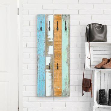 Appendiabiti in legno - Colorful Shabby strips - Ganci neri - Verticale