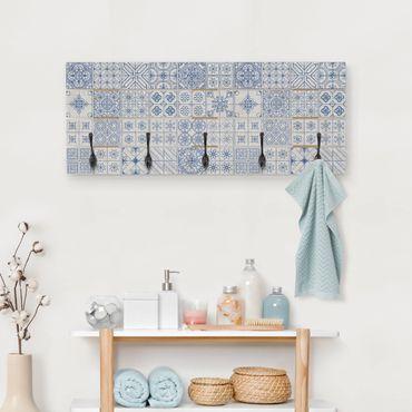 Appendiabiti in legno - Tile Pattern Blu Coimbra