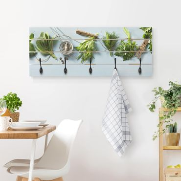 Appendiabiti in legno - Bundled Herbs - Ganci neri - Orizzontale