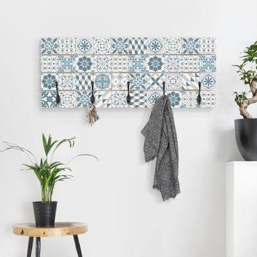 Appendiabiti in legno - Grigio Blu geometrica Tiles Mix