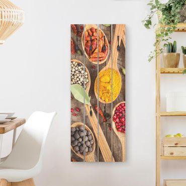 Appendiabiti in legno - Spezie sul cucchiaio di legno