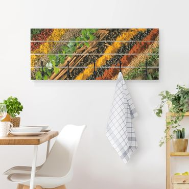 Appendiabiti in legno - Spice Strips - Ganci neri - Orizzontale