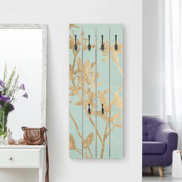 Appendiabiti in legno - Foglie d'oro su Turquoise II