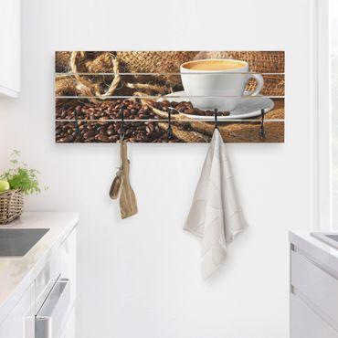 Appendiabiti in legno - Morning Coffee - Ganci neri - Orizzontale
