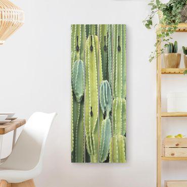 Appendiabiti in legno - Cactus Wall - Ganci neri - Verticale