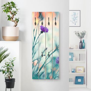 Appendiabiti in legno - Cornflowers - Ganci neri - Verticale