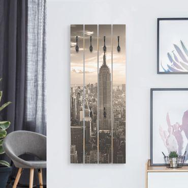 Appendiabiti in legno - Manhattan Skyline - Ganci neri - Verticale