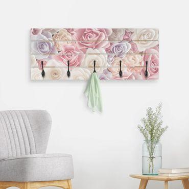 Appendiabiti in legno - Pastello carta di arte Roses