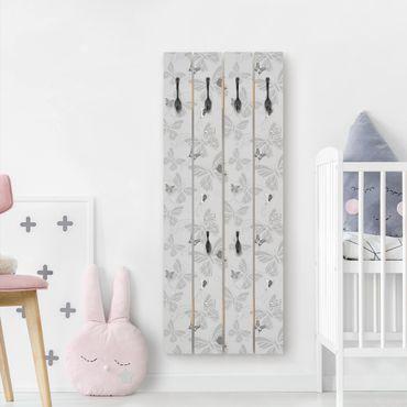 Appendiabiti in legno - Farfalle in bianco e nero