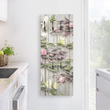 Appendiabiti in legno - Shabby Roses On Wood - Ganci neri - Verticale