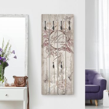 Appendiabiti in legno - Welcome with Butterfly - Ganci neri - Verticale