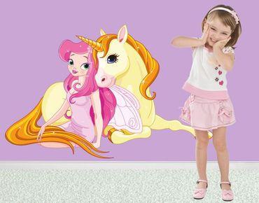 Adesivo murale - Fata con la sua unicorno