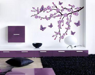 Adesivo murale - Fiori viola ramo