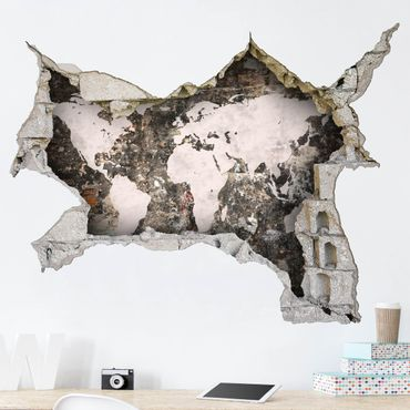 Adesivo murale 3D - Old Wall World Map - orizzontale 4:3