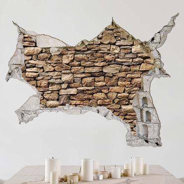 Adesivo murale 3D - American Stone Wall - orizzontale 4:3