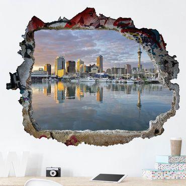 Adesivo murale 3D - Auckland Skyline Sunset - orizzontale 4:3