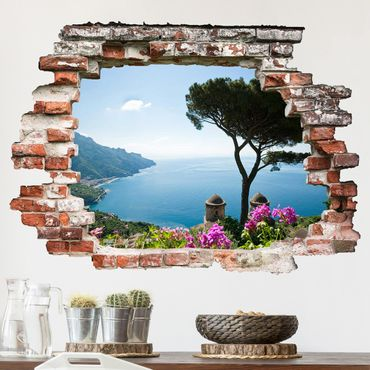 Adesivo murale 3D - View From The Garden On The Sea - orizzontale 4:3