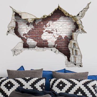Adesivo murale 3D - Brick World Map - orizzontale 4:3
