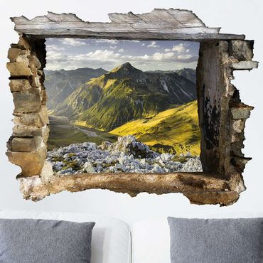 Adesivo murale 3D - Mountains And Valley Of The Lechtal Alps In Tirol - orizzontale 4:3