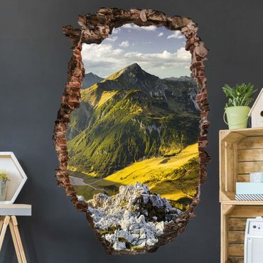 Adesivo murale 3D - Mountains And Valley Of The Lechtal Alps In Tirol - verticale 2:3