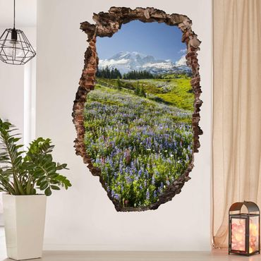 Adesivo murale 3D - Mountain Meadow With Flowers In Front Of Mt. Rainier - quadrata 1:1