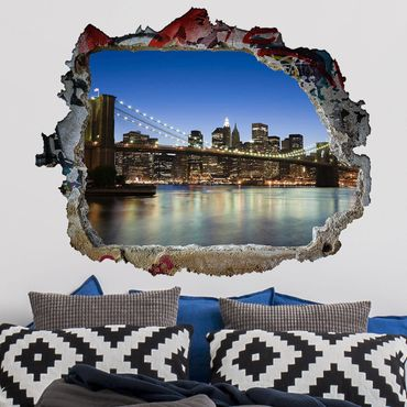 Adesivo murale 3D - Brooklyn Bridge In New York - orizzontale 4:3