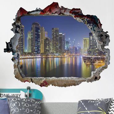Adesivo murale 3D - Dubai Night Skyline - orizzontale 4:3
