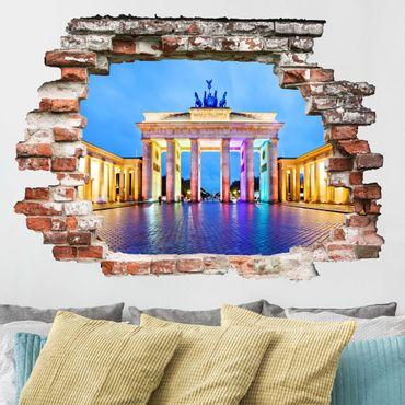 Adesivo murale 3D - Illuminated Brandenburg Gate - orizzontale 4:3