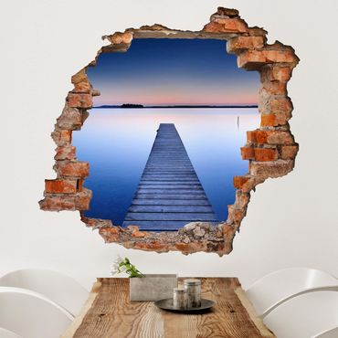 Adesivo murale 3D - Sunset At The Wharf - quadrata 1:1