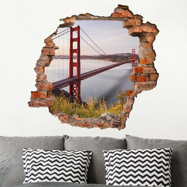 Adesivo murale 3D - Golden Gate Bridge In San Francisco - quadrata 1:1