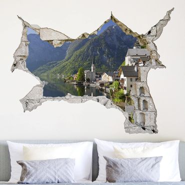 Adesivo murale 3D - Hallstatt Lake And Mountain Views - orizzontale 4:3