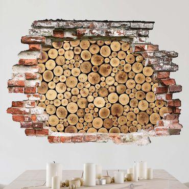 Adesivo murale 3D - Homey Firewood - orizzontale 4:3