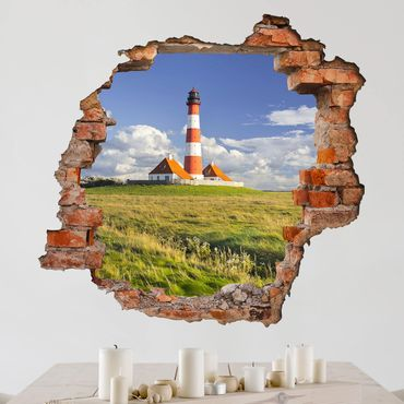 Adesivo murale 3D - Lighthouse In Schleswig-Holstein - quadrata 1:1