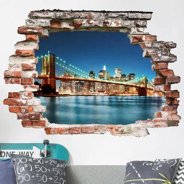 Adesivo murale 3D - Nighttime Manhattan Bridge - orizzontale 4:3
