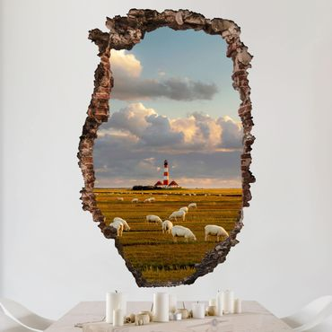 Adesivo murale 3D - North Sea Lighthouse With Sheep Herd - verticale 2:3