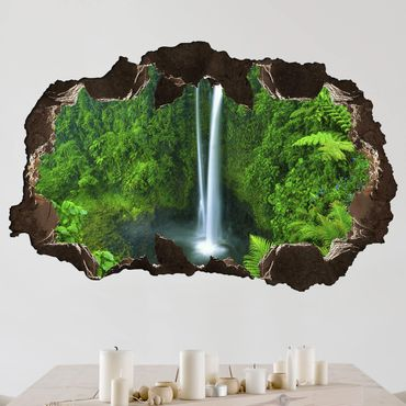 Adesivo murale 3D - Paradisiacal Waterfall - orizzontale 3:2