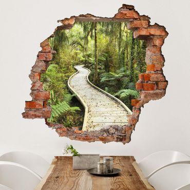 Adesivo murale 3D - Path In The Jungle - quadrata 1:1