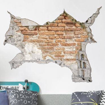 Adesivo murale 3D - Shabby Brick Wall - orizzontale 4:3