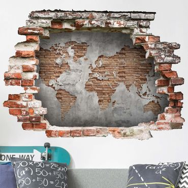 Adesivo murale 3D - Shabby Concrete Brick World Map - orizzontale 3:2