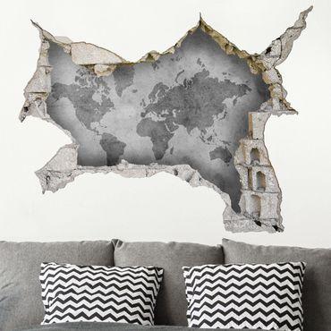 Adesivo murale 3D - Vintage World Map Ii - orizzontale 4:3