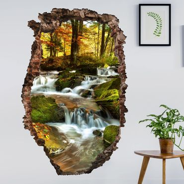Adesivo murale 3D - Waterfall Autumnal Forest - verticale 2:3
